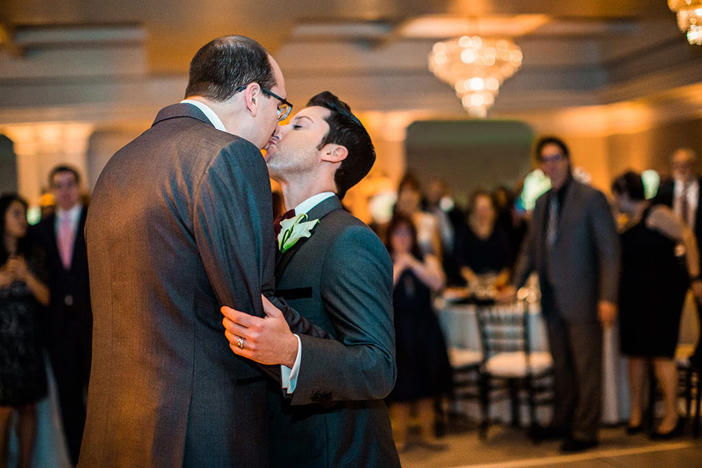 gay couple first dance at wedding reception