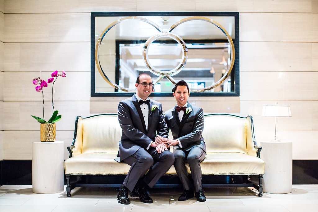 gay couple before wedding ceremony