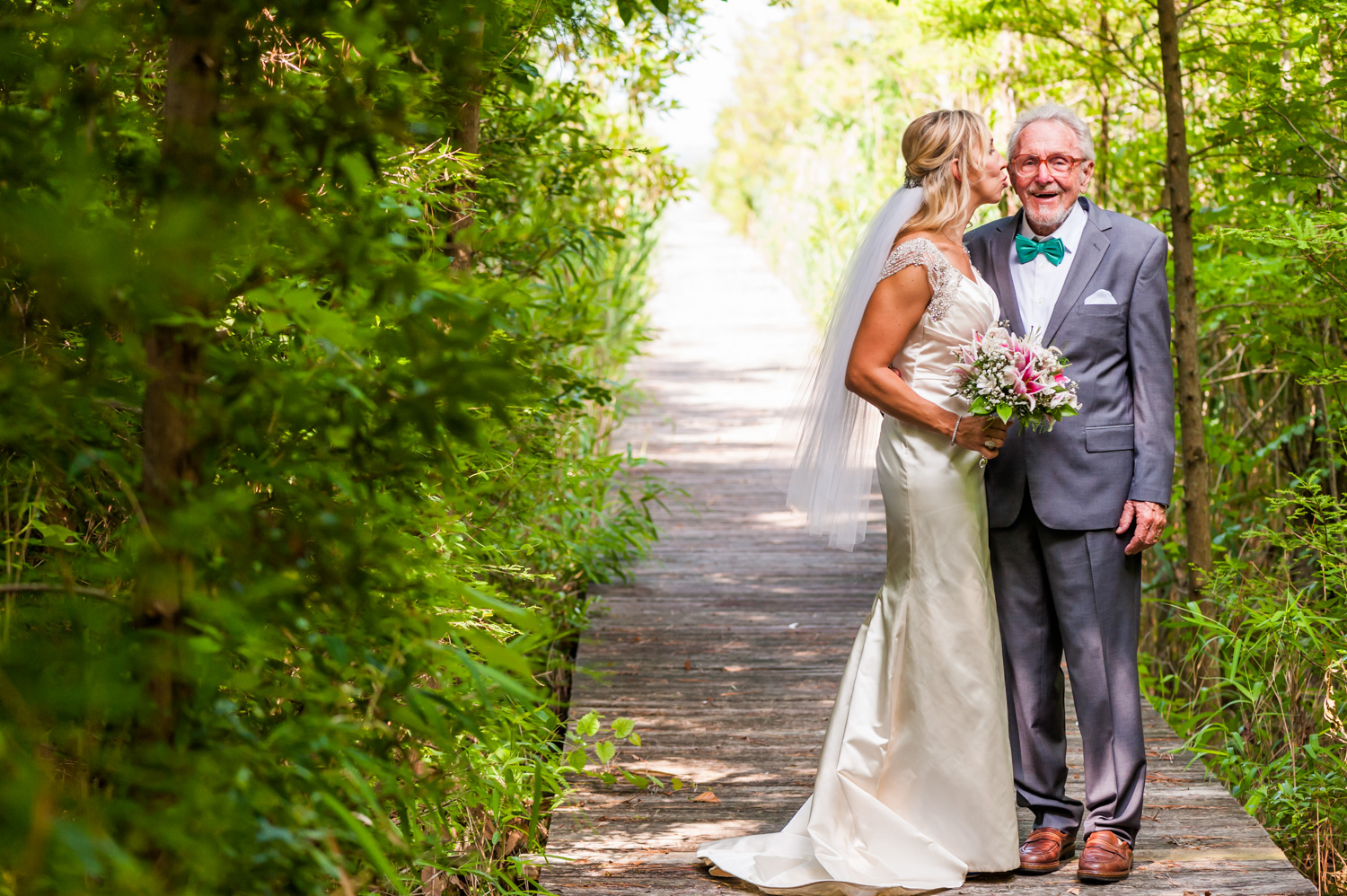BridalPulse - An Outdoor Vineyard Wedding in NC By Rent My Wedding | bride with her father