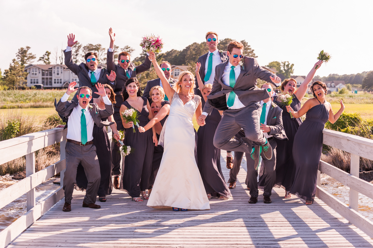 BridalPulse - An Outdoor Vineyard Wedding in NC By Rent My Wedding | bridal party jumping