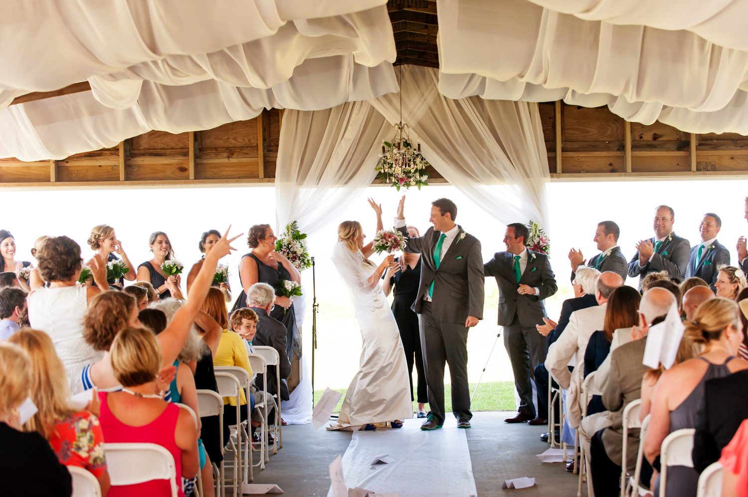 BridalPulse - An Outdoor Vineyard Wedding in NC By Rent My Wedding | bride and groom just married