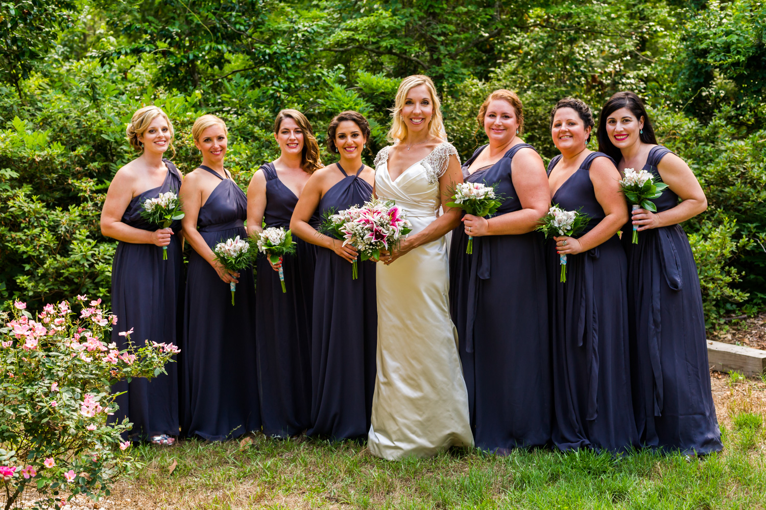 BridalPulse - An Outdoor Vineyard Wedding in NC By Rent My Wedding | bride with her bridesmaids