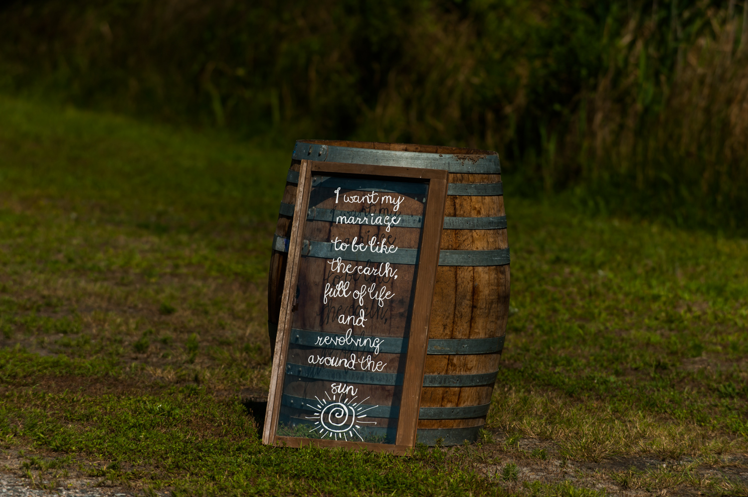 BridalPulse - An Outdoor Vineyard Wedding in NC By Rent My Wedding | wedding sign on barrel