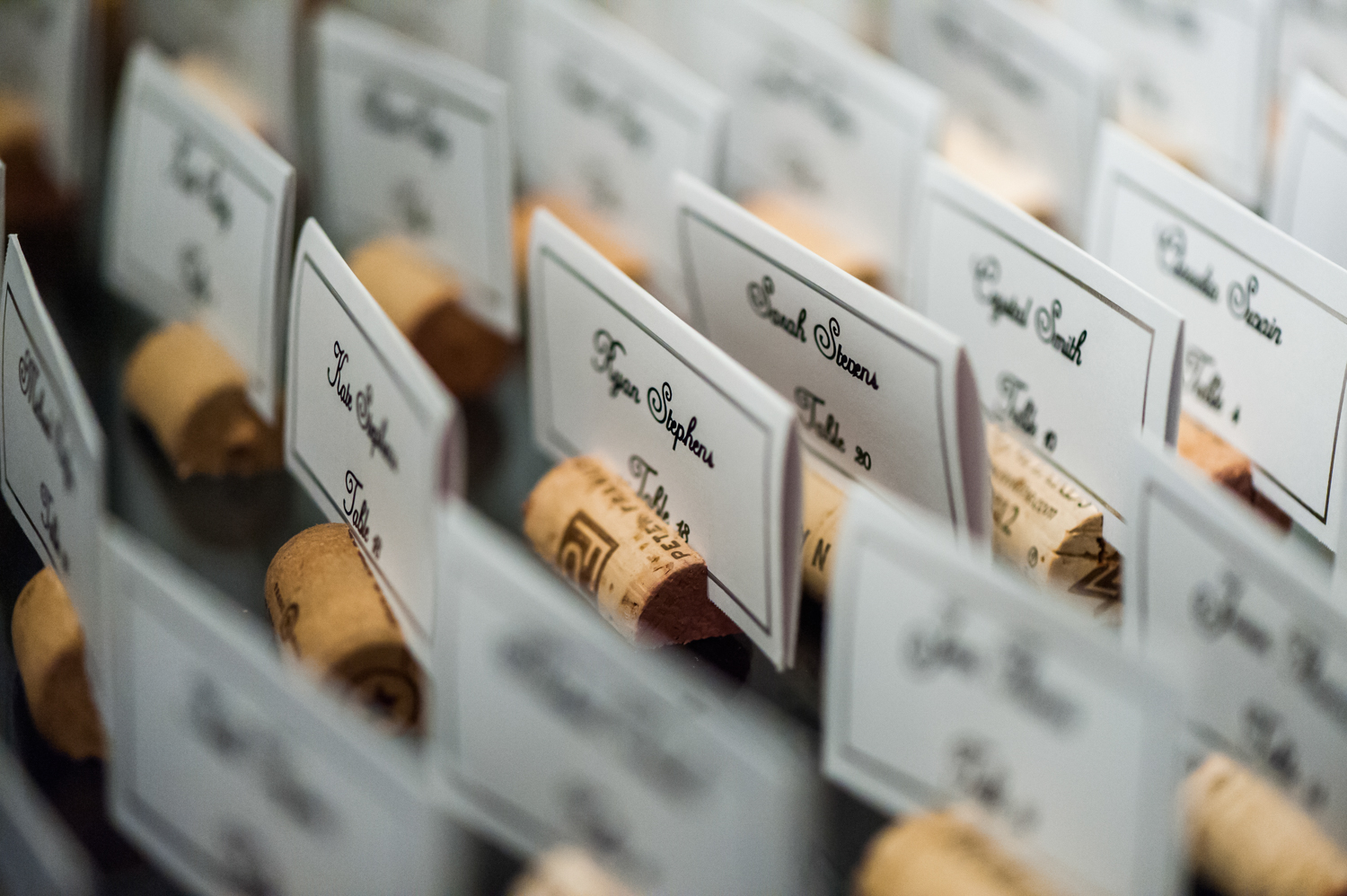 BridalPulse - An Outdoor Vineyard Wedding in NC By Rent My Wedding | cork placecard holders