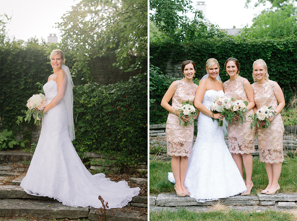 BridalPulse - Golf Lovers' Country Club Wedding - bride and bridesmaids in short gold bridesmaids dresses