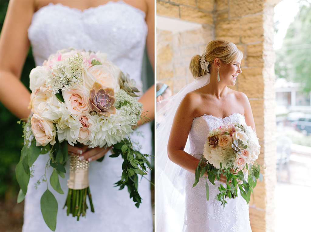 BridalPulse - Golf Lovers' Country Club Wedding - wedding bouquet with succulents and roses and dhalias