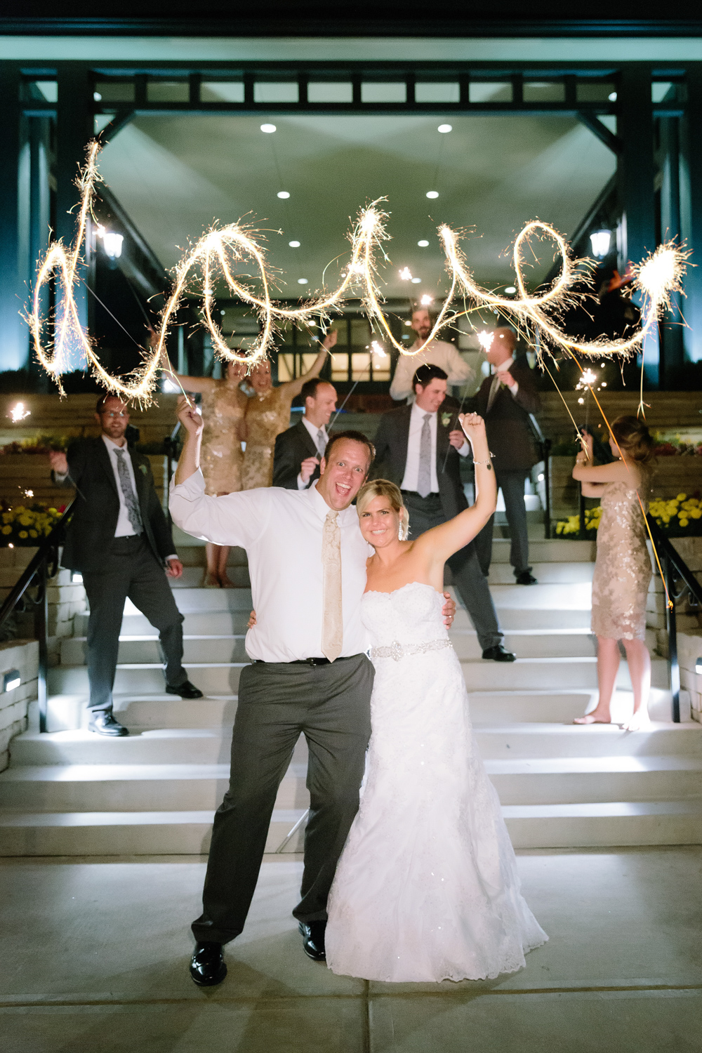BridalPulse - Golf Lovers' Country Club Wedding - love written out with sparklers