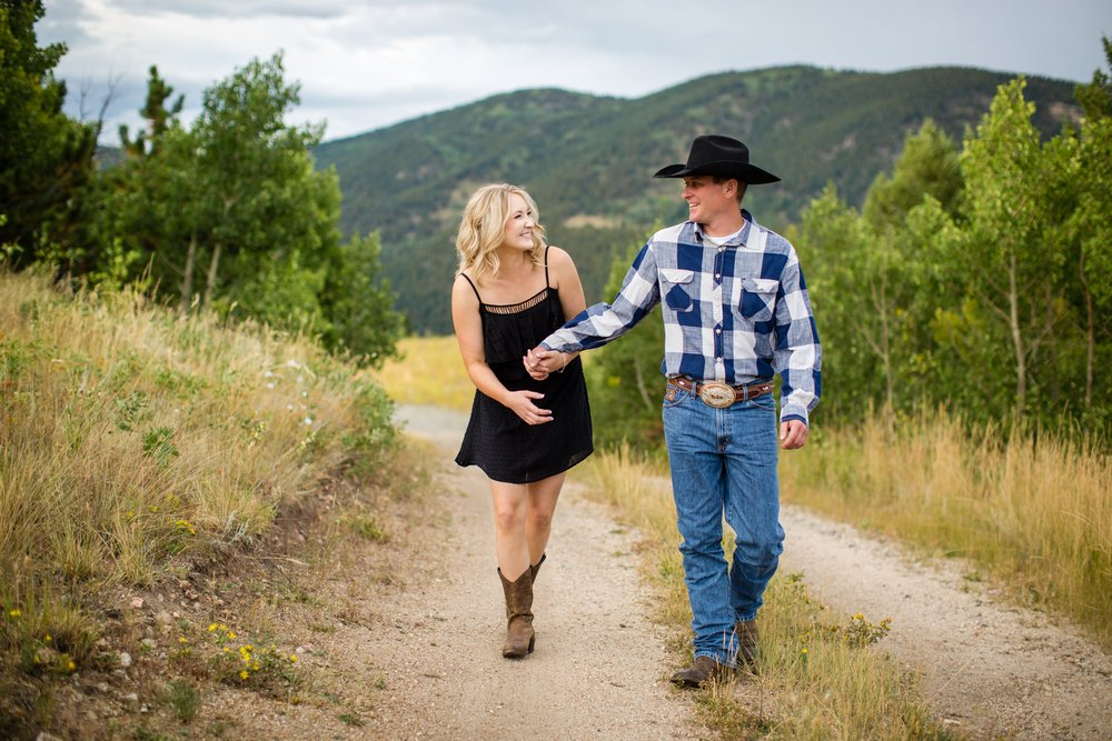 BridalPulse - Rustic and Romantic Colorado Engagement Shoot-Photography by Haley Allen Photography- molly-and-jason-walking and laughing