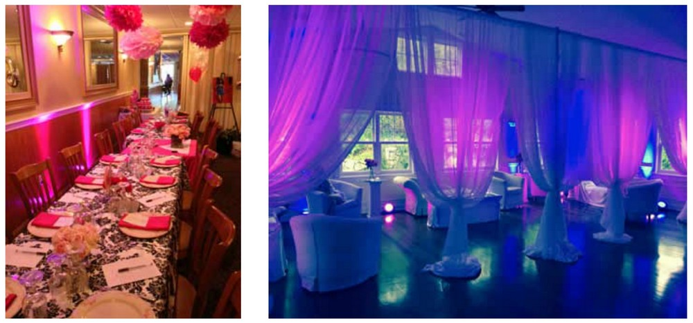 BridalPulse - How to Create Table Glow Accents - Table Glow effects on drapes- Rent My Wedding