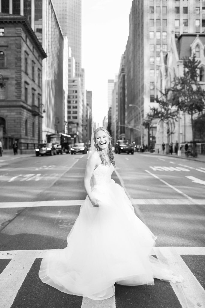 wedding planning tips and inspiration: bride crossing the street in nyc