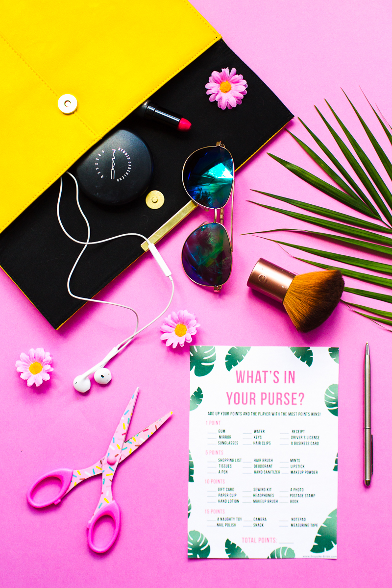 free printable whats in your purse tropical bridal shower game