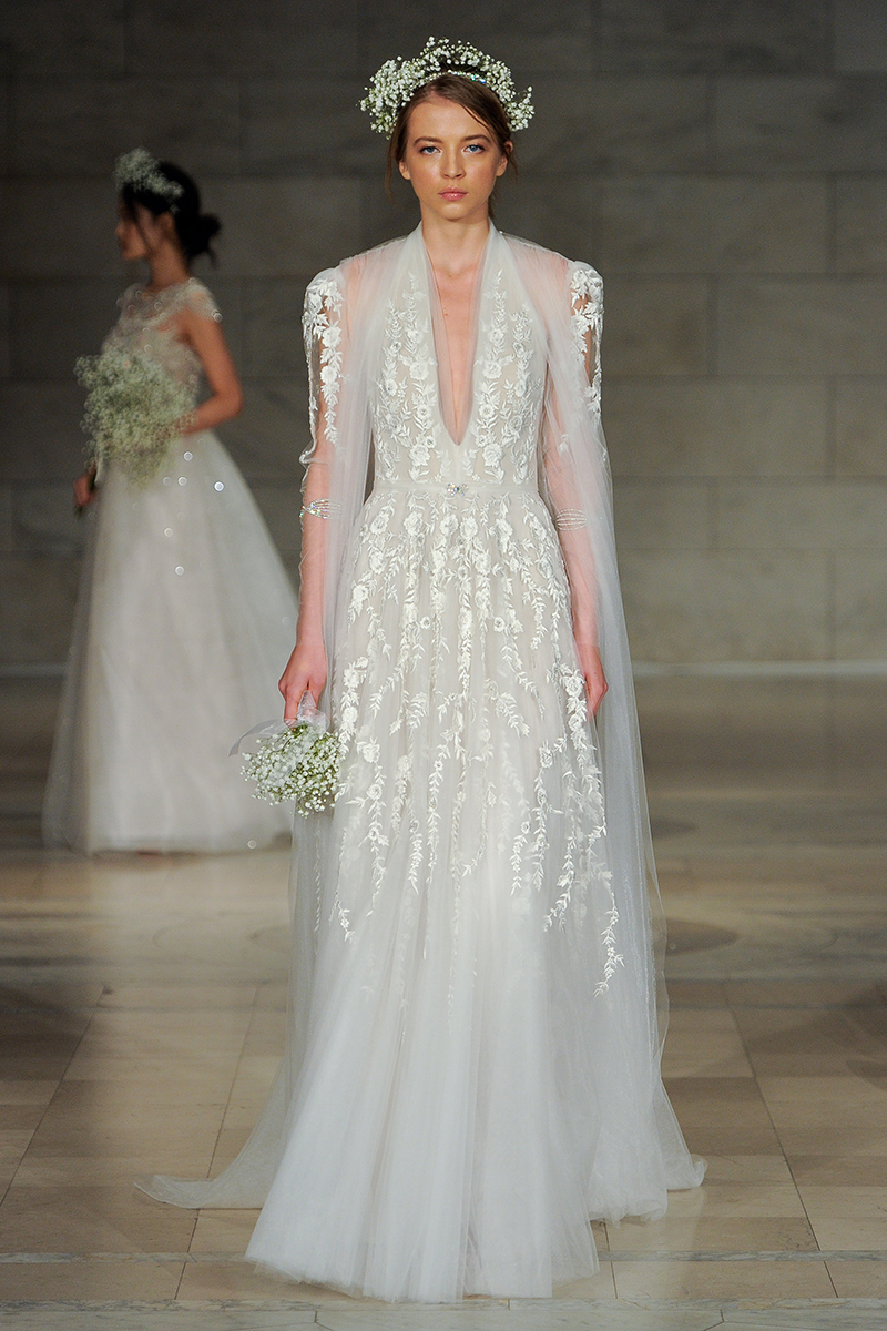 BridalPulse: The 5 Biggest Trends From Bridal Fashion Week Fall 2018 | Photo: Reem Acra | Follow @bridalpulse for more wedding inspiration!