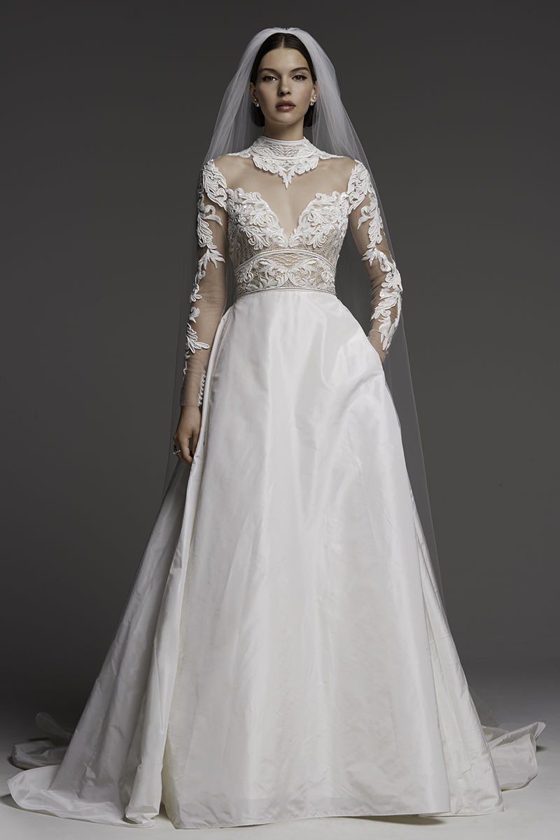 Grace kelly 39 s wedding dress inspired watters 39 fall 2018 Grace kelly wedding dress design