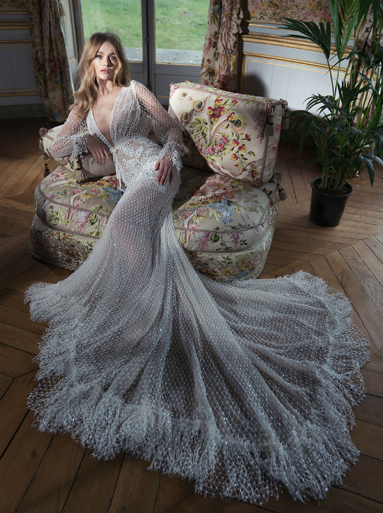 Bridal 2018 By Inbal Dror With Allover Knitted Beading And A Dramatic Train