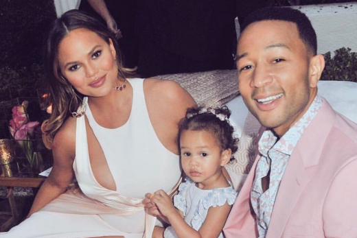 Chrissy Teigen and John Legend with daughter Luna