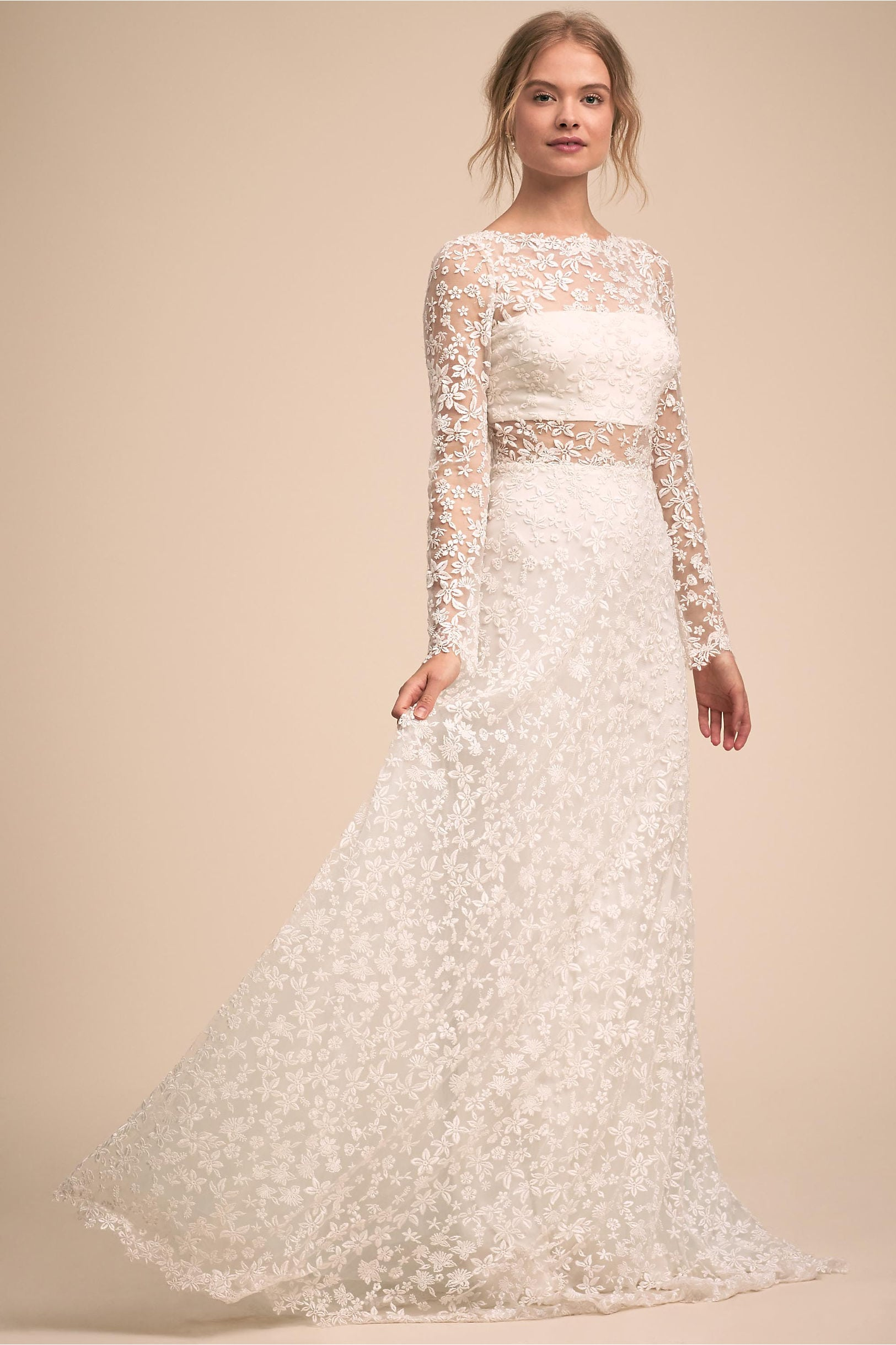 491c082c5865c Cellestine Gown: white dress with floral appliqué long sleeve overlay over  tube top with A